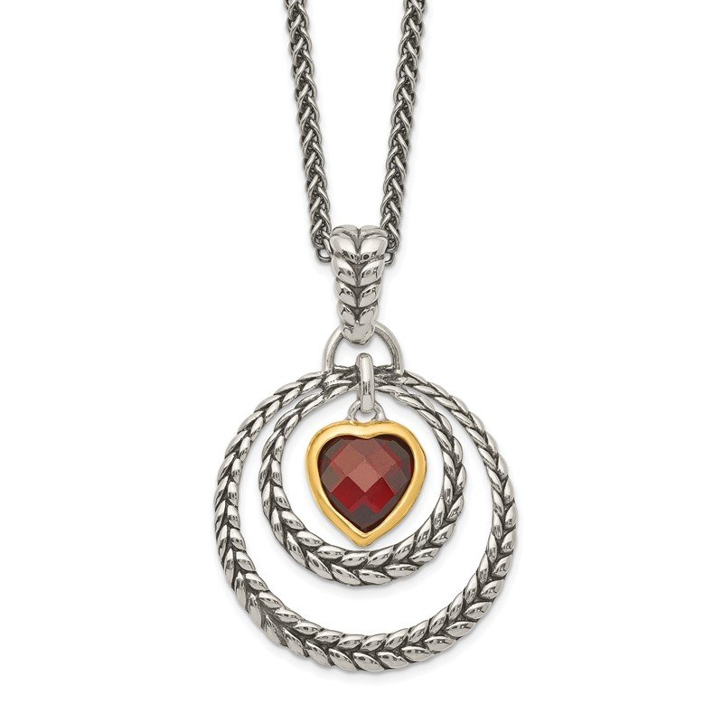 Quality Gold Sterling Silver w/Gold-tone Flash Gold-plated Garnet Heart Necklace