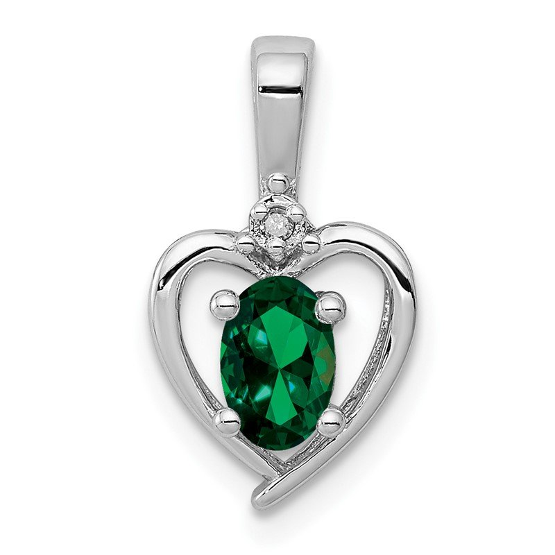 Quality Gold Sterling Silver Rhodium-plated Created Emerald & Diam. Pendant