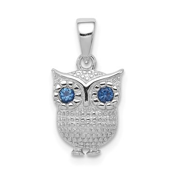 Sterling Silver Rhodium-plated w/Blue Synthetic Sapphire Owl Pendant