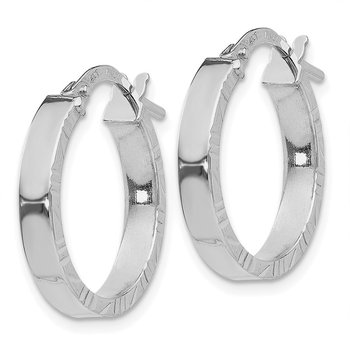 14K White Gold Small 3mm Diamond Cut Edge Polished Hoop Earrings