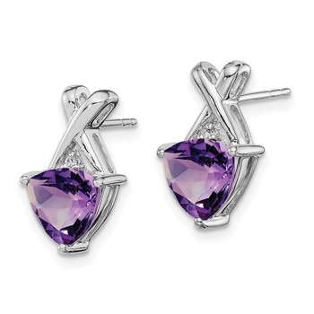 Sterling Silver Rhodium Plated Amethyst White Topaz Post Earrings
