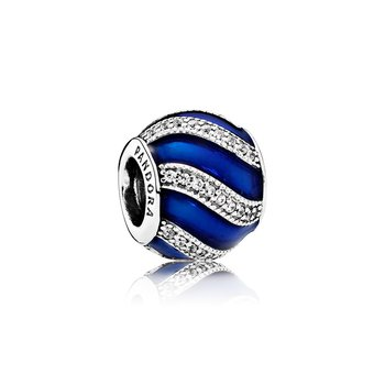 Adornment, Transparent Royal-Blue Enamel &  Clear CZ