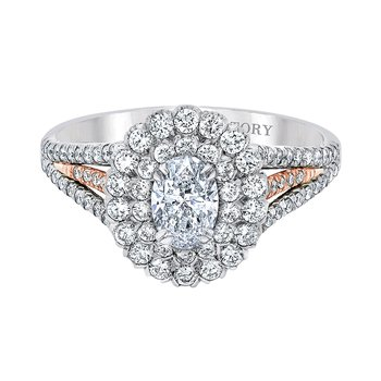 Two Toned Double-Halo Engagement Ring by Love Story