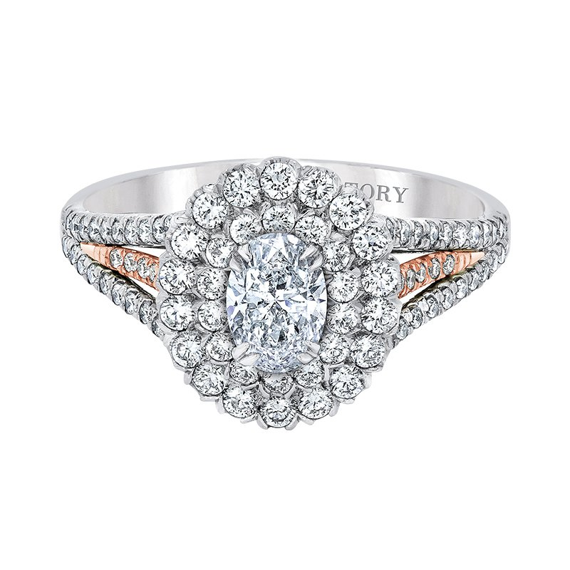 Love Story Two Toned Double-Halo Engagement Ring by Love Story