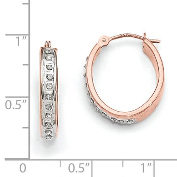 14k Rose Gold Diamond Fascination Oval Hinged Hoop Earrings