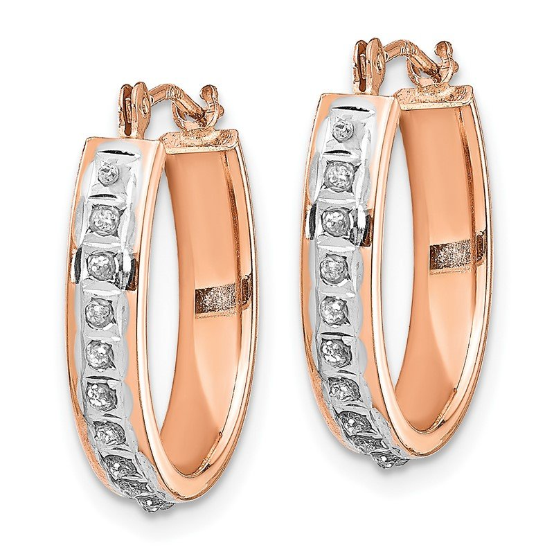 Quality Gold 14k Rose Gold Diamond Fascination Oval Hinged Hoop Earrings