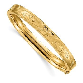 14k 5/16 Diamond-cut Concave Hinged Bangle Bracelet