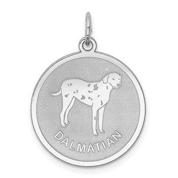 Sterling Silver Rhodium-plated Dalmatian Disc Charm