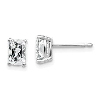 14k White Gold 6x4mm Radiant Cut Cubic Zirconia Earrings