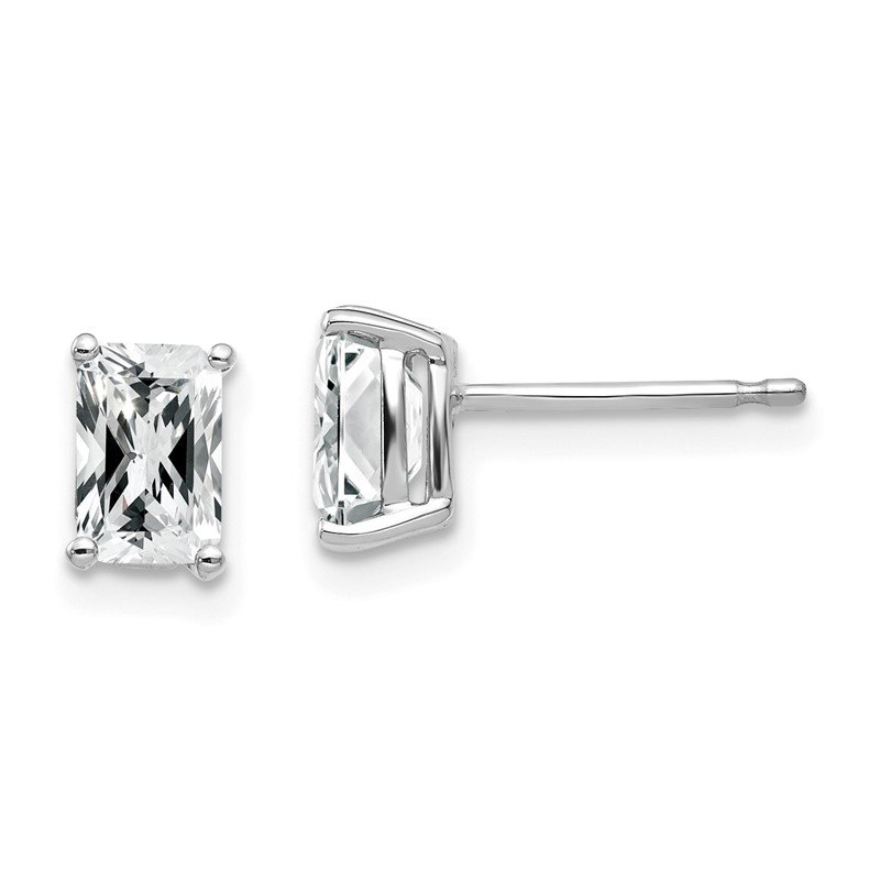 Quality Gold 14k White Gold 6x4mm Radiant Cut Cubic Zirconia Earrings