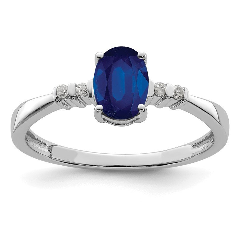 Quality Gold Sterling Silver Rhodium Plated Diamond & Sapphire Oval Ring