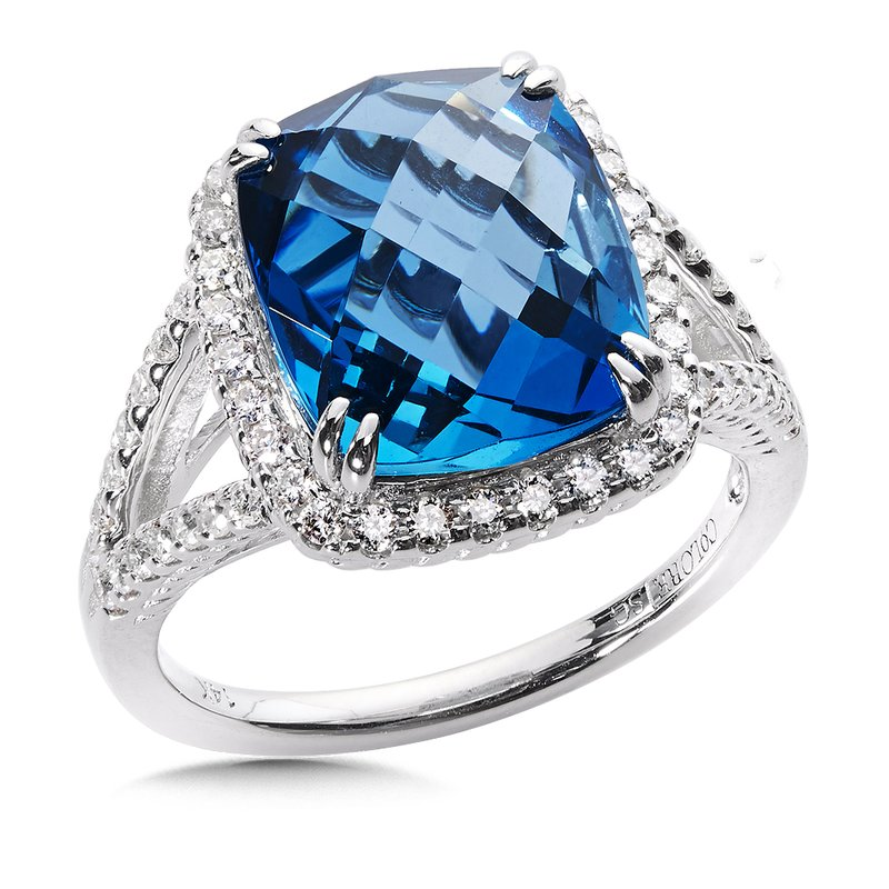 Colore Oro London Blue Topaz & Diamond Statement Ring in 14k White Gold