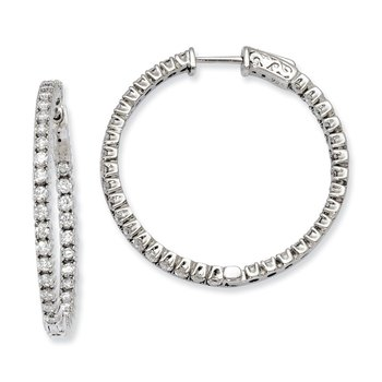 Sterling Silver CZ 70 Stones In and Out Round Hoop Earrings