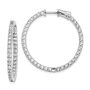 Sterling Silver CZ 70 Stones In and Out Round Hinged Hoop Earrings