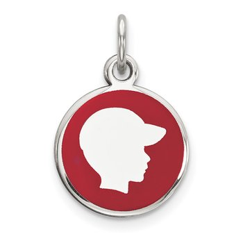 Sterling Silver Rhod-plate Red Enamel Right Facing Boy Head Disc Charm