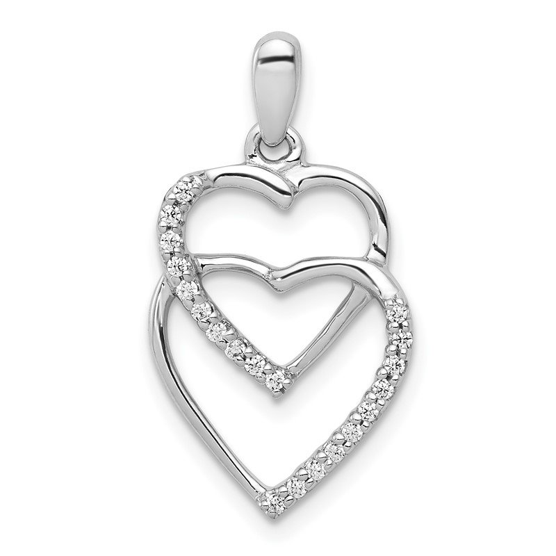 Quality Gold 14k White Gold Diamond 1/10ct. Entwined Hearts Pendant