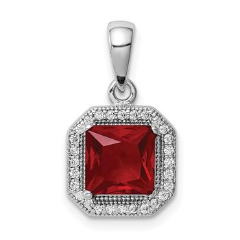 Sterling Silver Rhodium Plated Clear CZ and Square Red CZ Pendant