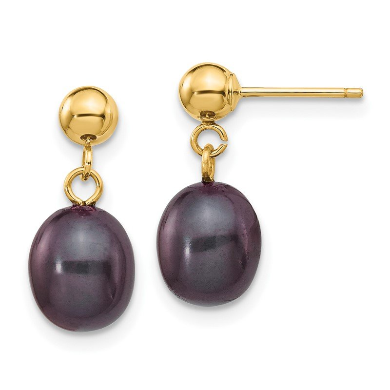 Quality Gold 14k 7-8mm Black Rice Freshwater Cultured Pearl Dangle Post Earrings