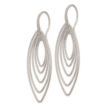 Sterling Silver Rhodium Plated D/C Oblong Dangle Earrings