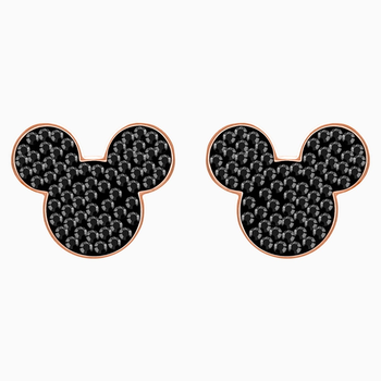 Mickey & Minnie Pierced Earrings, Black, Rose-gold tone plated