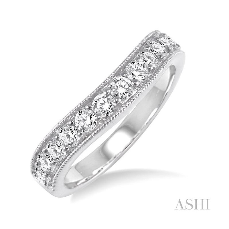 Gemstone Collection diamond curved wedding band