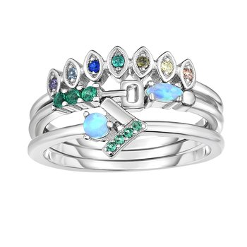 Silver Blue and Green CZ Stackable Ring