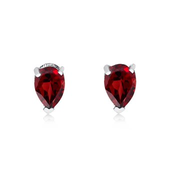 14k White Gold Garnet Pear-Shaped Earring