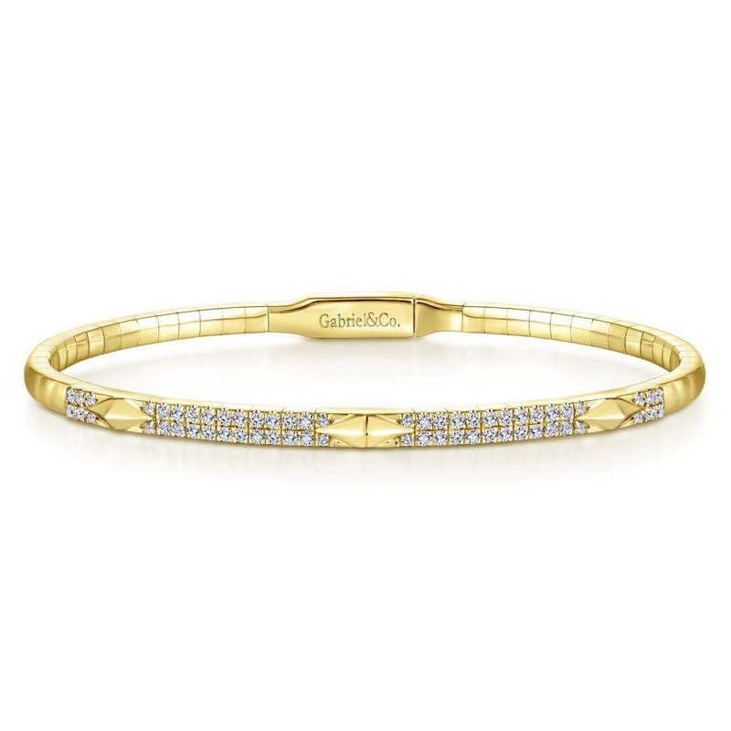 Gabriel Fashion 14K Yellow Gold Diamond Bangle with Pyramid Rhombus Stations