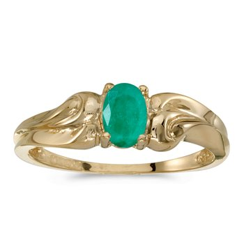14k Yellow Gold Oval Emerald Ring