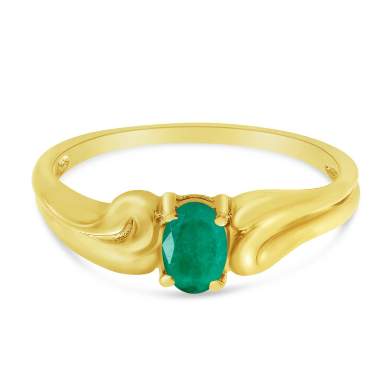 Color Merchants 14k Yellow Gold Oval Emerald Ring