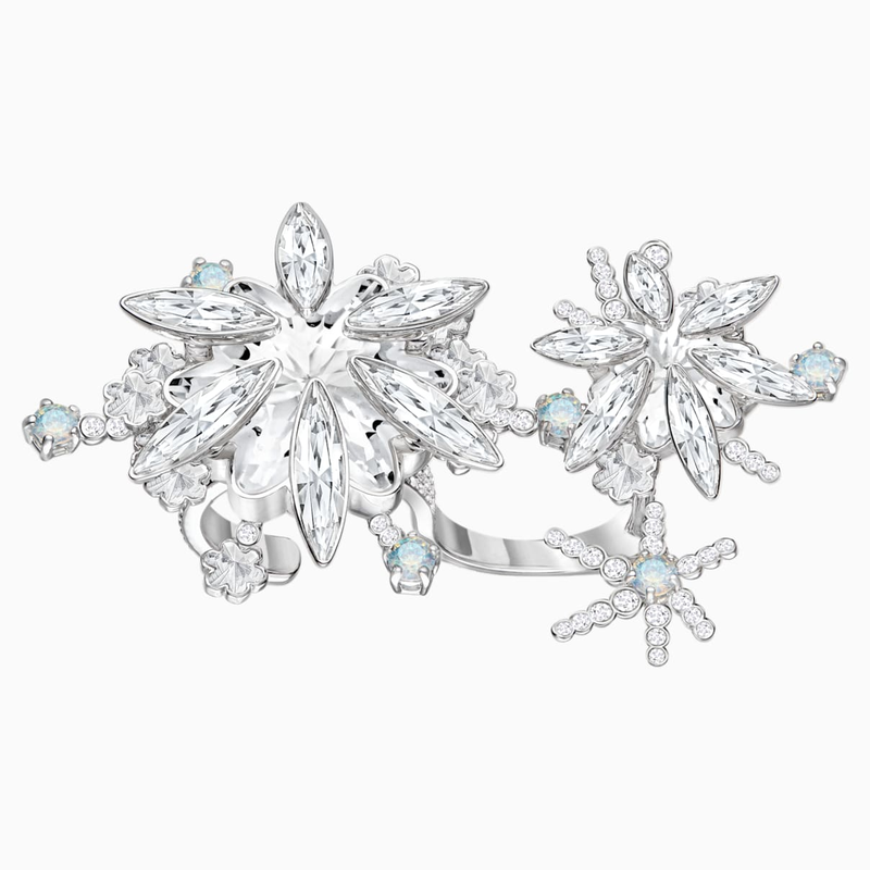 Swarovski Merry Cocktail Ring, White, Rhodium plated