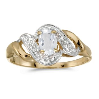 10k Yellow Gold Oval White Topaz And Diamond Swirl Ring