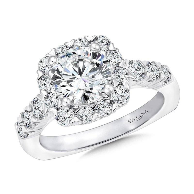 Valina Unique Cushion-Shaped Halo Diamond Engagement Ring