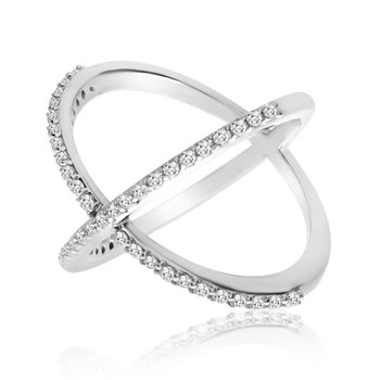 "14k White Gold ""X"" Ring with Diamonds"