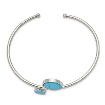 Stainless Steel Polished with Reconstructed Turquoise Flexible Bangle