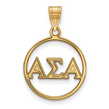 Gold-Plated Sterling Silver Alpha Sigma Alpha Greek Life Pendant