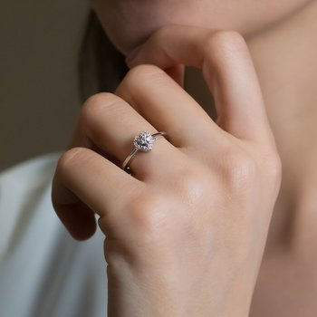 Heart Design Diamond Halo Ring