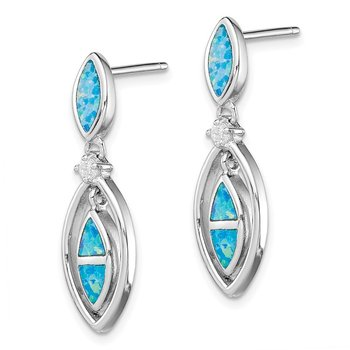 Sterling Silver CZ Blue Inlay Created Opal Marquise Earrings