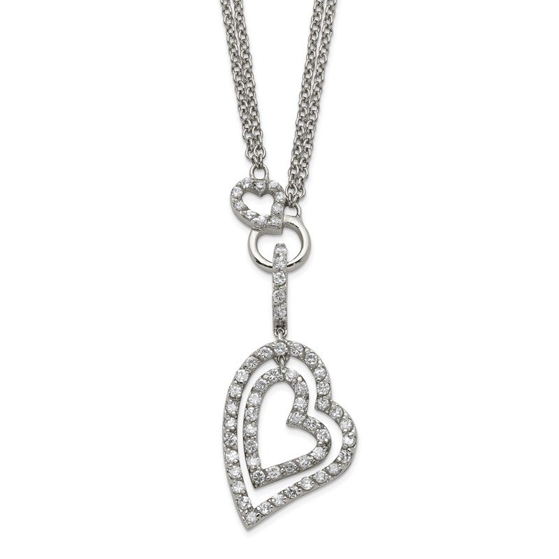 Quality Gold Sterling Silver Double Heart CZ Necklace