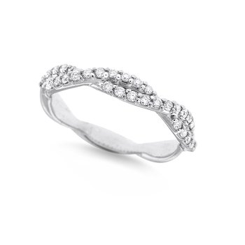 Diamond Stack Ring in 14K White Gold with 32 Diamonds Weighing .32ct tw