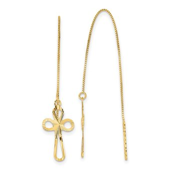 14k Polished D/C Box Chain w/Cross Threader Earrings