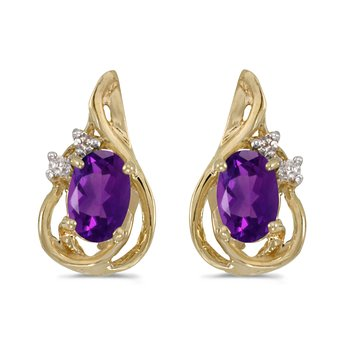 14k Yellow Gold Oval Amethyst And Diamond Teardrop Earrings