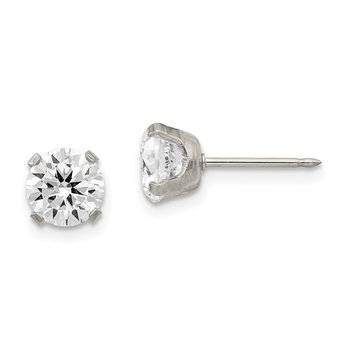 Inverness Stainless Steel 7mm CZ Post Earrings