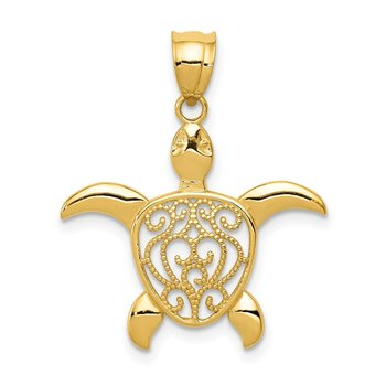14k Polished Filigree Sea Turtle Pendant