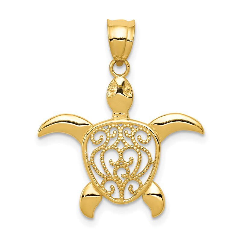 Quality Gold 14k Polished Filigree Sea Turtle Pendant