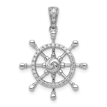 14k White Gold 1/6ct. Diamond Ship Wheel Pendant