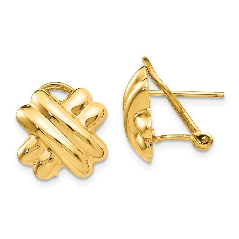 Quality Gold 14k Polished X Omega Back Post Earrings