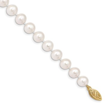 14k 7-8mm White Near Round Freshwater Cultured Pearl Necklace