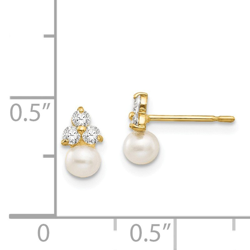 J.F. Kruse Signature Collection 14k Madi K CZ and FW Cultured Pearl Post Earrings