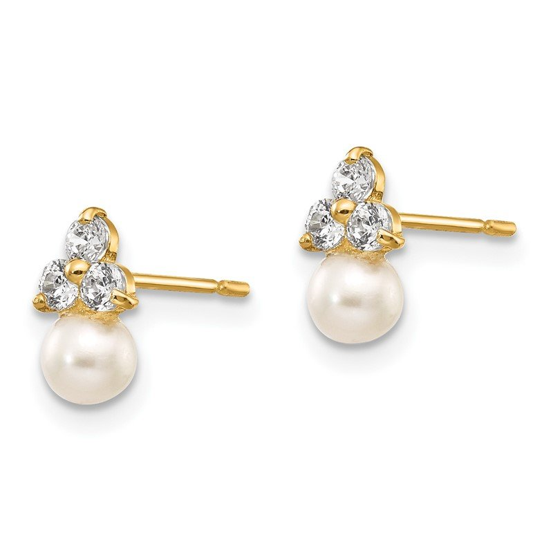 Quality Gold 14k Madi K CZ and FW Cultured Pearl Post Earrings